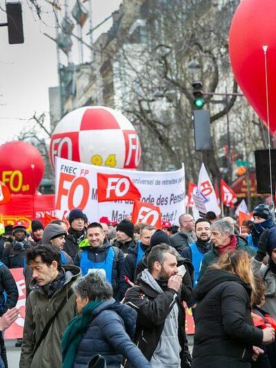 Manifestation contre la réforme des retraites instaurant la retraite à points. Paris le 29 janvier 2020.